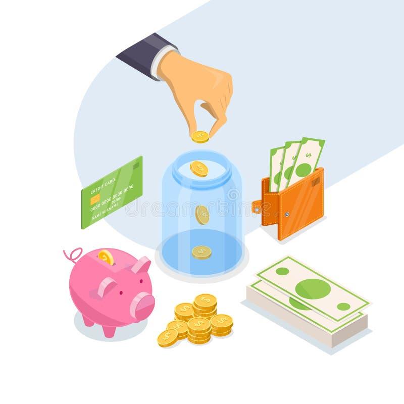 Pengarbesparing- och för bankinsättning affärsidé Isometrisk illustration för vektor som 3d isoleras på vit bakgrund vektor illustrationer