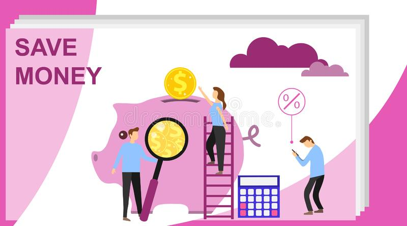 Pengarbesparingbegrepp med tecken Spargris- och myntbegrepp Kan anv?nda f?r reng?ringsdukbanret, infographicsen, hj?ltebilder Kan stock illustrationer