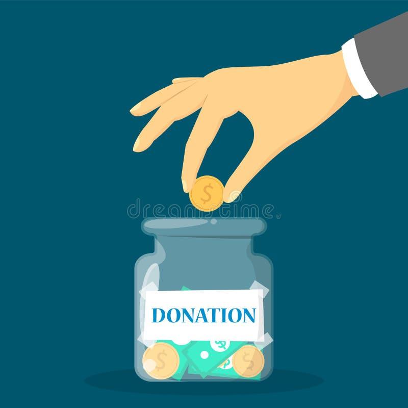 Pengardonationbegrepp Handen donerar myntet för fattigt folk royaltyfri illustrationer