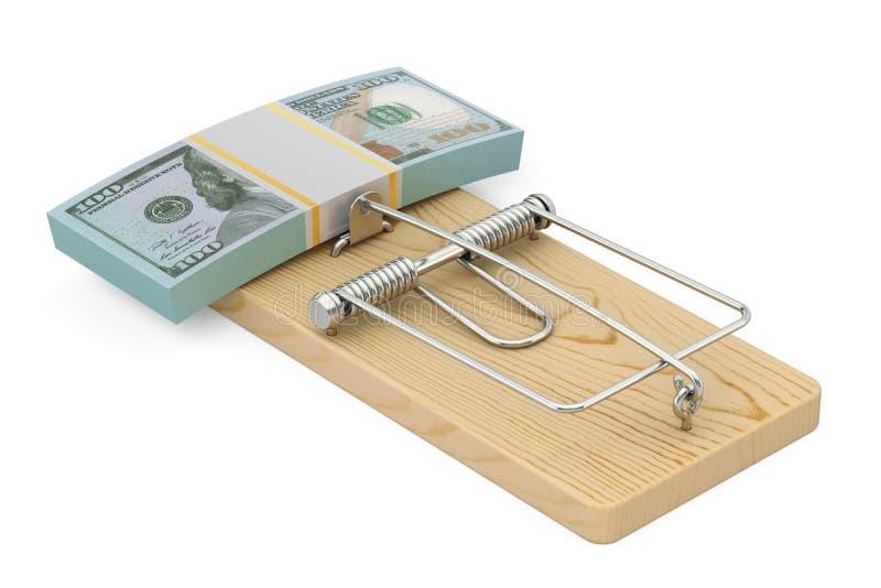 Pengarfälla med packen av dollar, tolkning 3D royaltyfri illustrationer