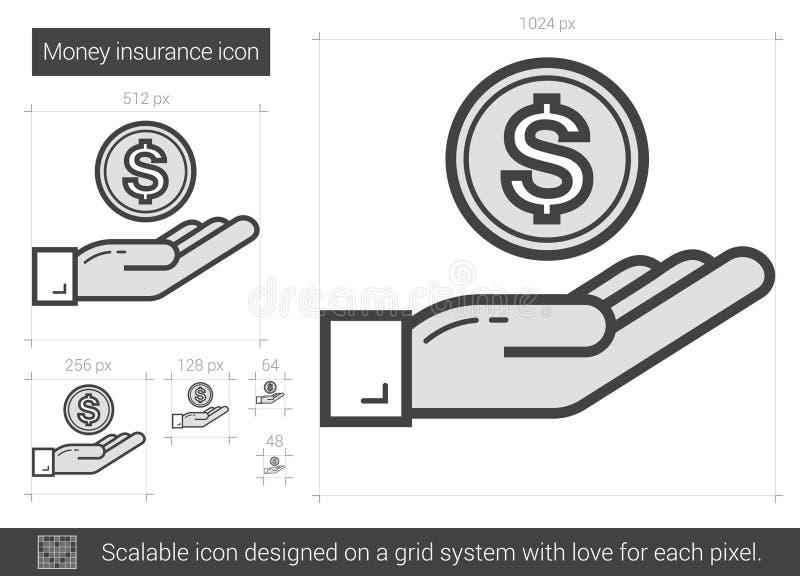 Pengarförsäkringlinje symbol royaltyfri illustrationer