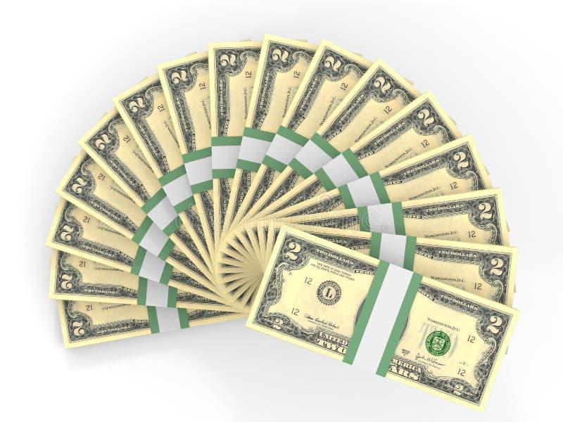 Pengarfan dollar två stock illustrationer