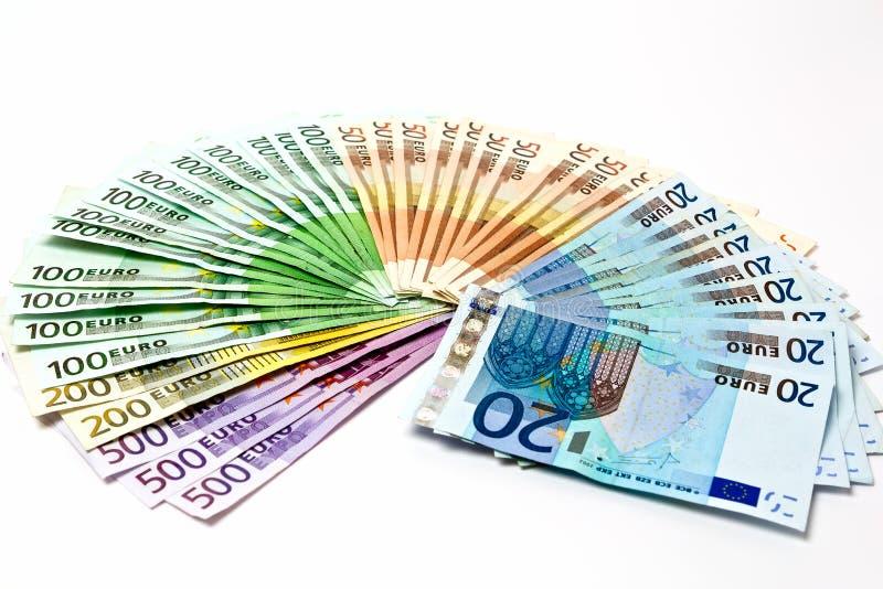 Pengarfanen från olikt euro fakturerar 500 200 100 50 20 royaltyfri foto