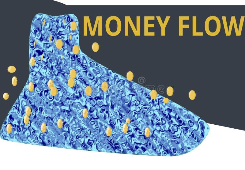Pengarflöden från en vattenfall royaltyfri illustrationer