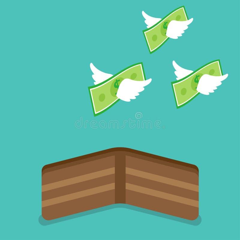 Pengarflyg från plånboken royaltyfri illustrationer
