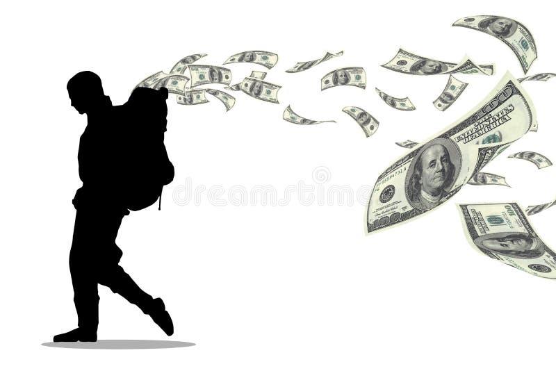 Pengarfotvandrare royaltyfri illustrationer