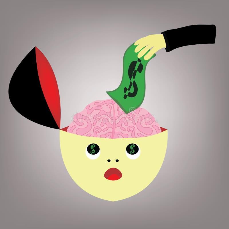 Pengarhjärna stock illustrationer