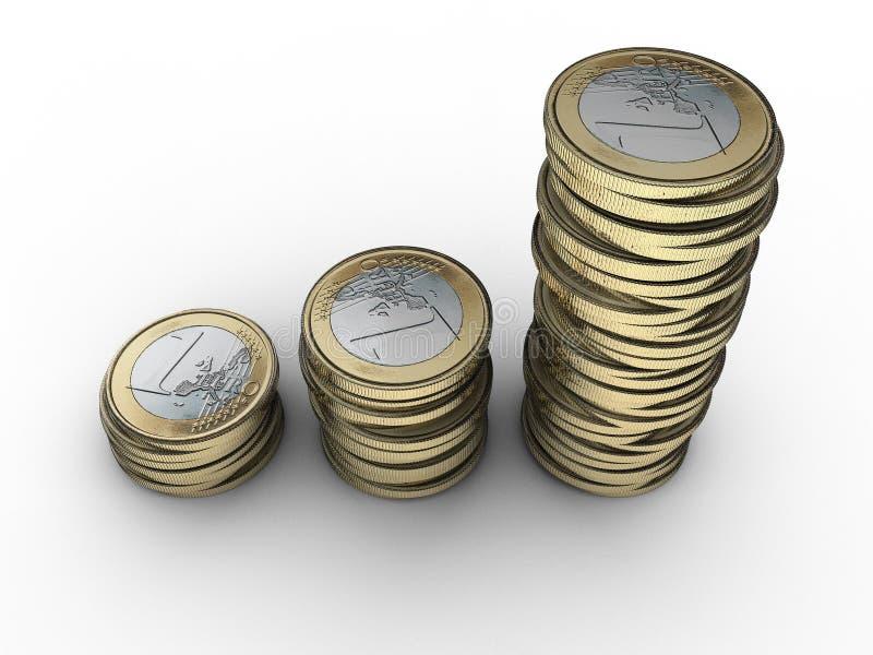 Pengarinvestering coins euro staplade pengar besparingar vektor illustrationer