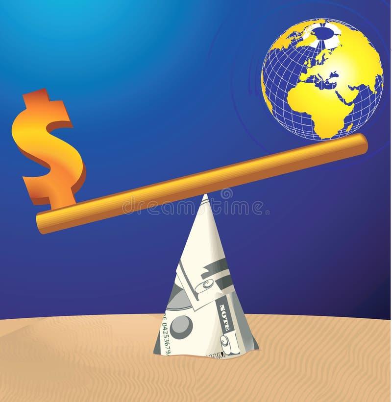 Pengarjämvikt stock illustrationer