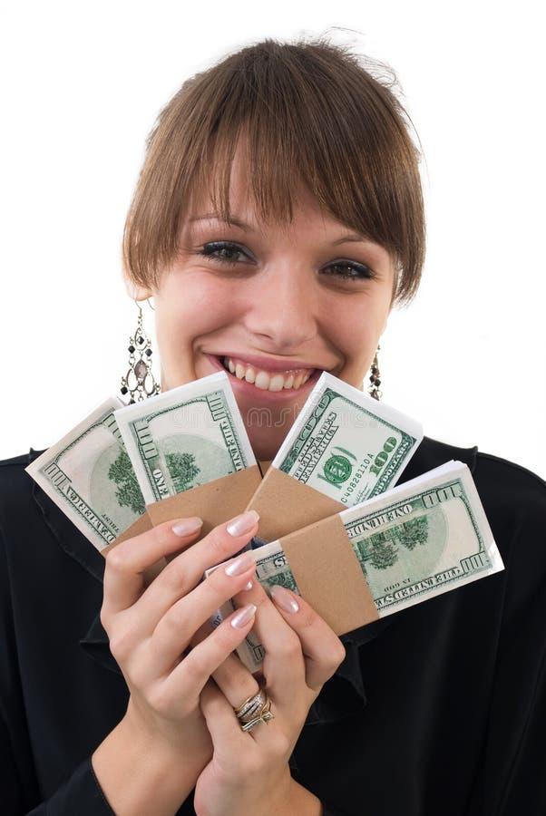 pengarkvinna royaltyfria bilder