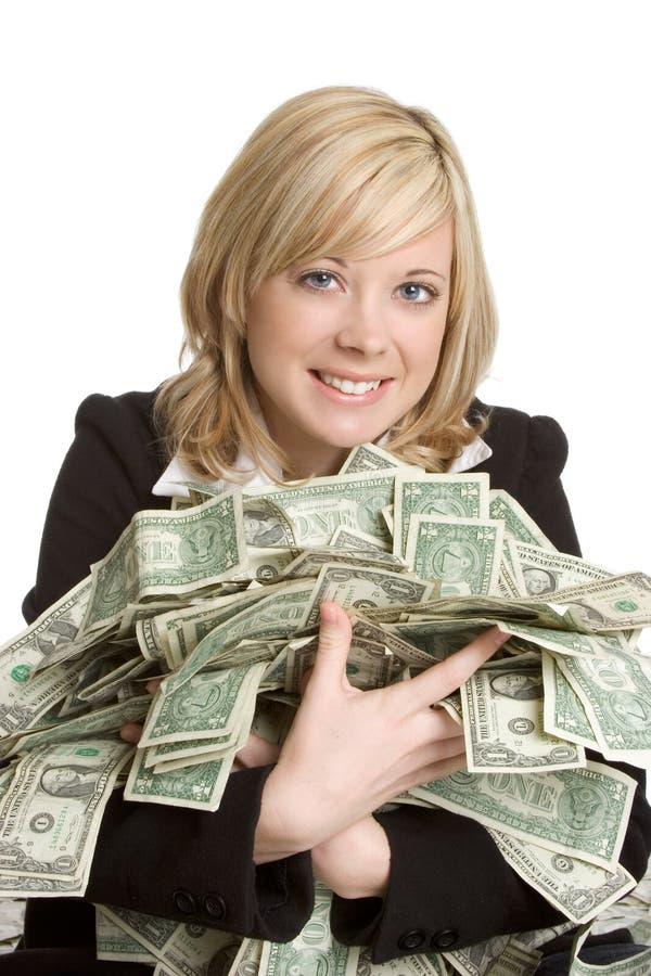 pengarkvinna royaltyfri foto