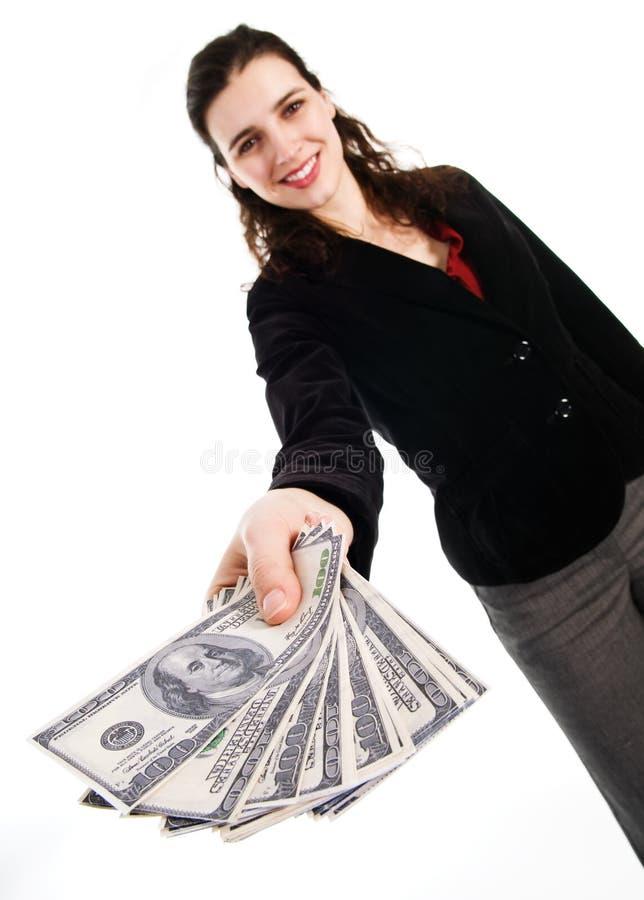 pengarkvinna royaltyfri fotografi