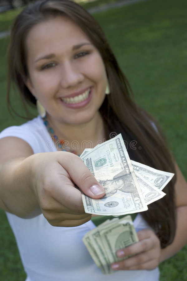 pengarkvinna royaltyfria foton