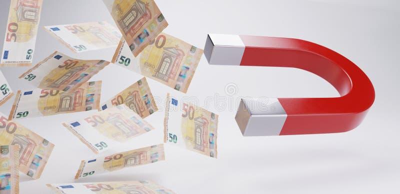 Pengarmagnet femtio euroräkningar 3d-illustration vektor illustrationer