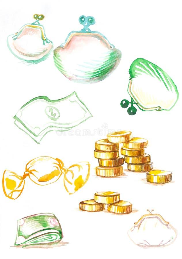 Pengarmynt, dollar som drar vattenfärgrengöringsduk vektor illustrationer
