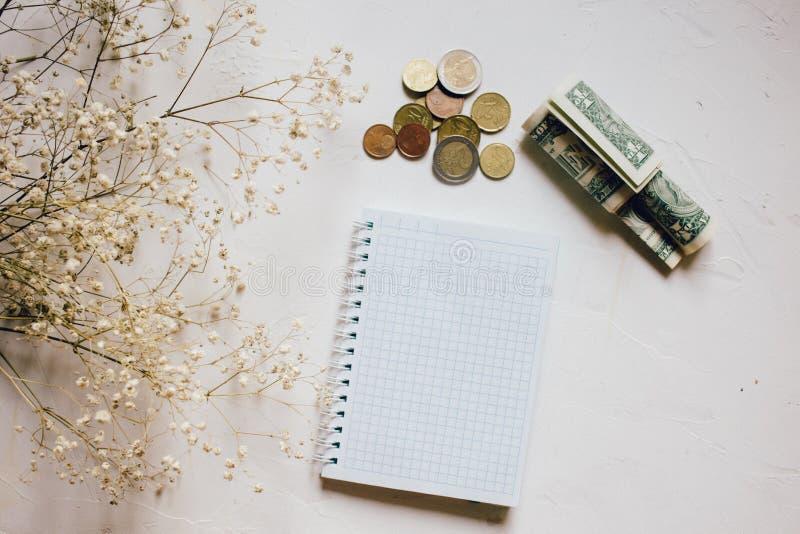 Pengarmynt och kassa, torr blomma, tom anteckningsbok på vit royaltyfria bilder