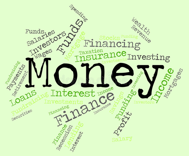 Pengarordet betyder förmögna finanser och välstånd stock illustrationer