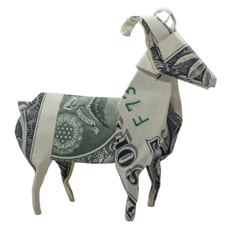 Pengarorigami RAM Aries Zodiac Animal Folded med den verkliga en dollaren Bill White Background arkivfoton