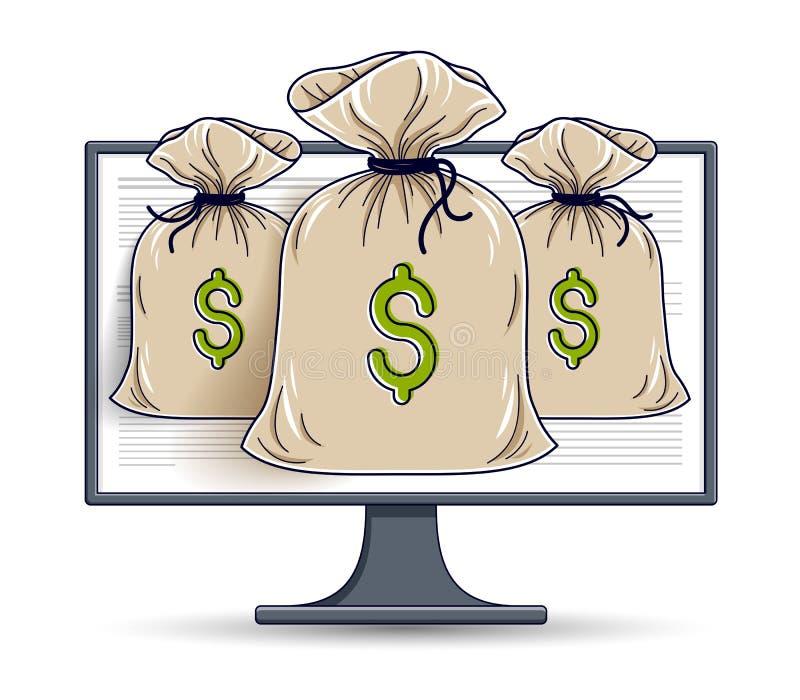 Pengarpåse över datorbildskärm direktanslutet eller bokföringbegreppet, elektroniska pengar för internet, besparingar, vektordesi royaltyfri illustrationer