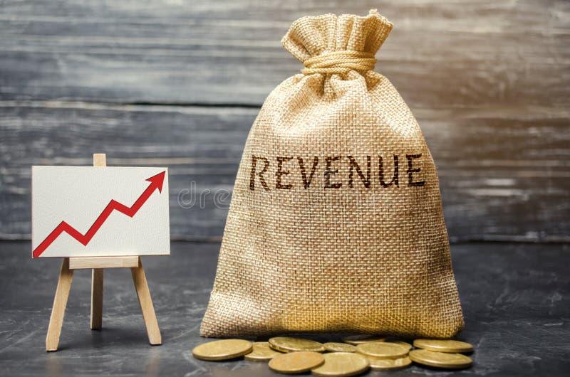 Pengarpåse med den ordintäkten och grafen upp Begreppet av ökande vinster och finans Budgettillväxt i företaget _ royaltyfria bilder