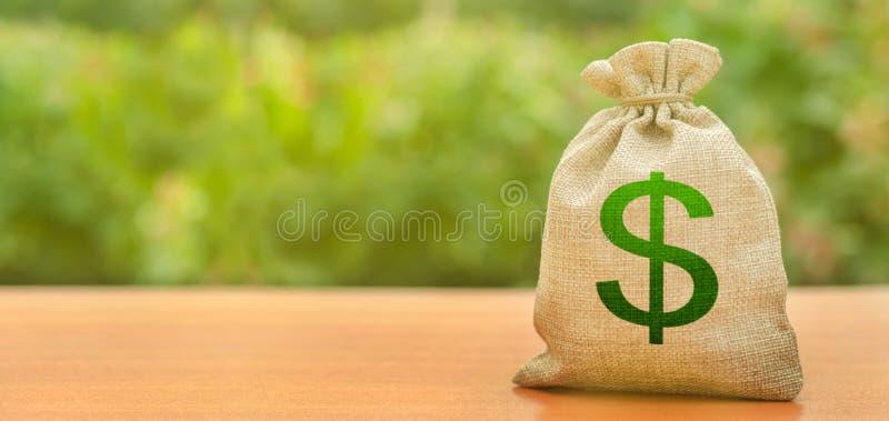 Pengarpåse med dollarsymbol på en naturbakgrund Tilldragning av investering till utveckling och modernisering Affär budget, royaltyfria bilder