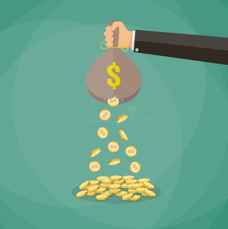 Pengarpåse med hålet stock illustrationer