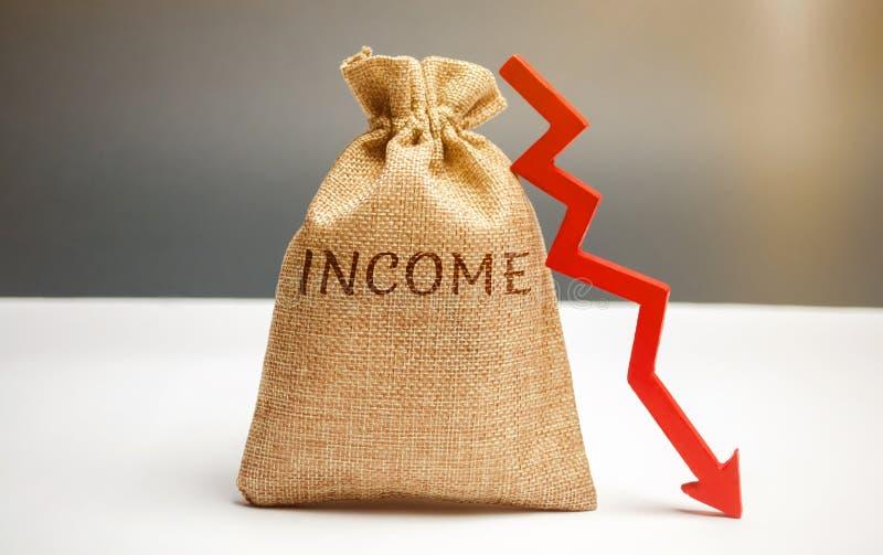 Pengarpåse med inkomst och ner pilen för ord Förminskande intäkt och vinster Förminskande budget Förlust av pengar Mislyckad affä royaltyfri fotografi