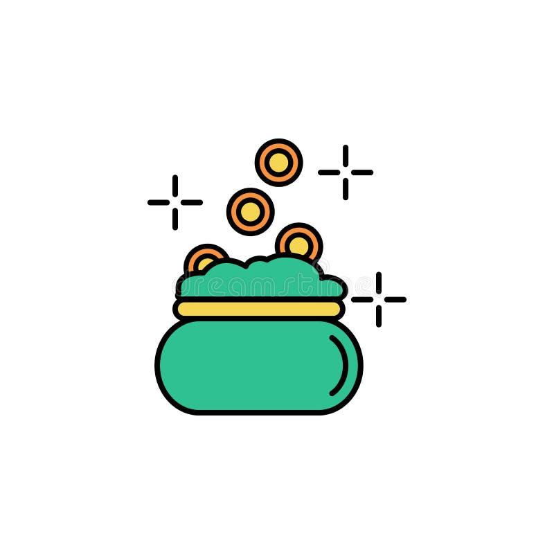 Pengarpåse, myntsymbol Beståndsdel av symbolen för dag för färgSt Patricks Högvärdig kvalitets- symbol för grafisk design tecken  vektor illustrationer