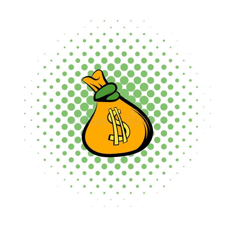 Pengarpåsen med symbolen för US dollartecknet, komiker utformar vektor illustrationer