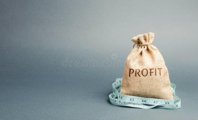 Pengarp?se med den ordvinsten och m?ttbandet Begreppet av inskr?nkt vinst Brist av pengar och armod Liten inkomst l?n royaltyfria bilder