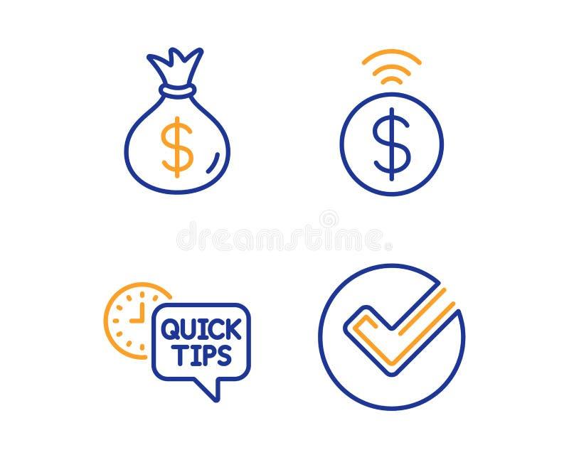 Pengarp?se, snabba spetsar och Contactless betalningsymbolsupps?ttning Verifiera tecknet vektor royaltyfri illustrationer