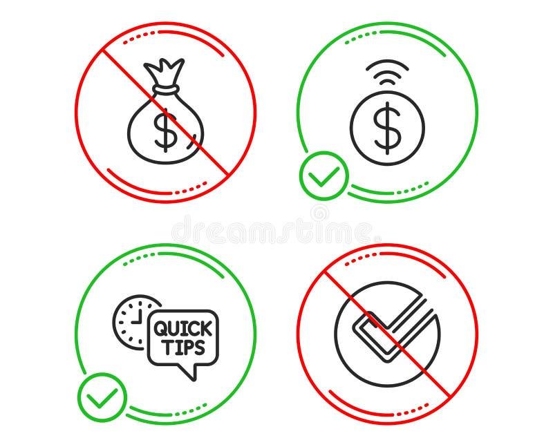 Pengarp?se, snabba spetsar och Contactless betalningsymbolsupps?ttning Verifiera tecknet vektor vektor illustrationer