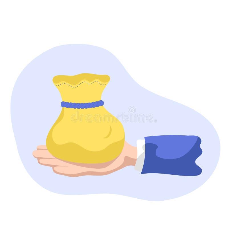 Pengarsäck i handen, illustration i plan stil Guld- påse i affärsmanhand stock illustrationer