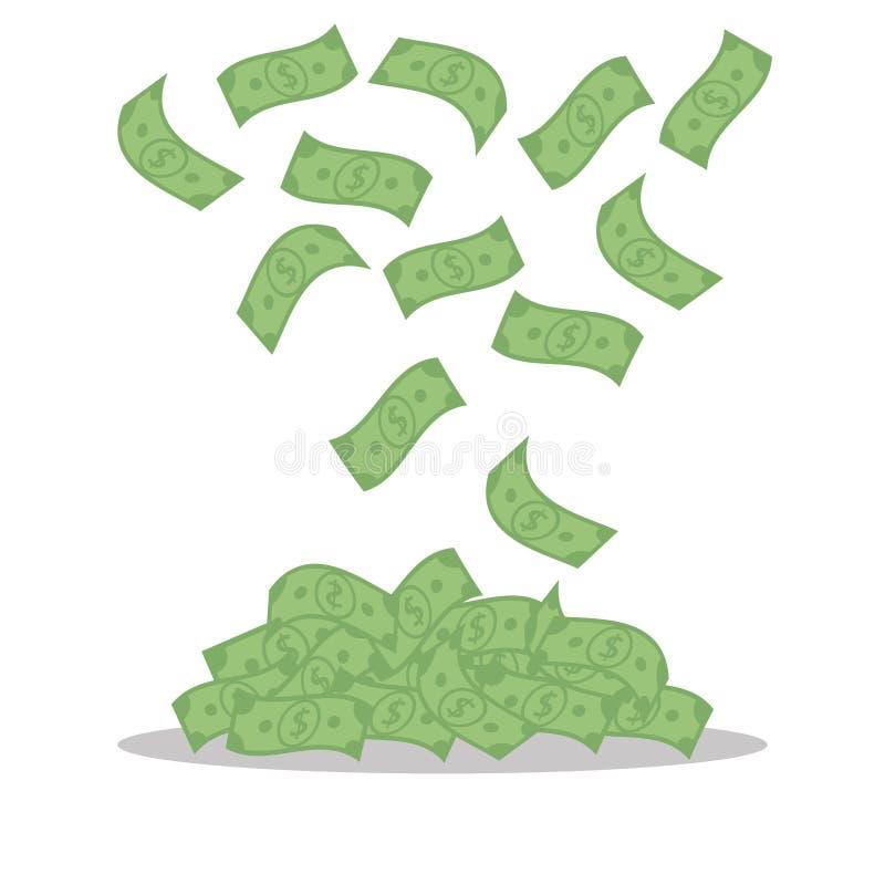 Pengarsedlar som isoleras på vit bakgrund Fallande gröna dollar, räkningar flyger - den plana vektorillustrationen stock illustrationer