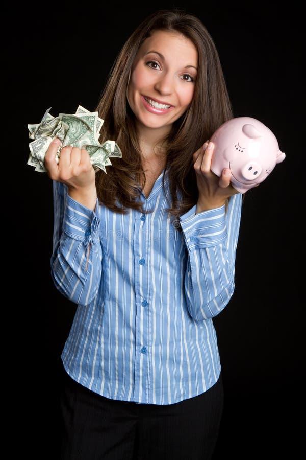 pengarsparandekvinna arkivbilder