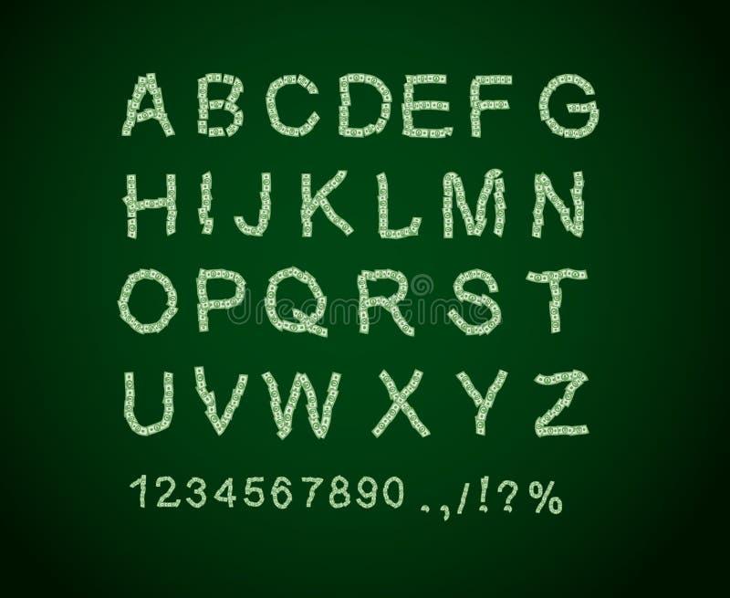 Pengarstilsort Bokstav från dollar Alfabet av pengar vektor illustrationer
