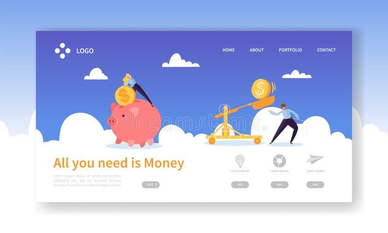 Pengarsvinbesparing för vinstlandningsida Finansinsättningförtjänst med myntsymbolen Symbol av websiten för finansiell investerin royaltyfri illustrationer