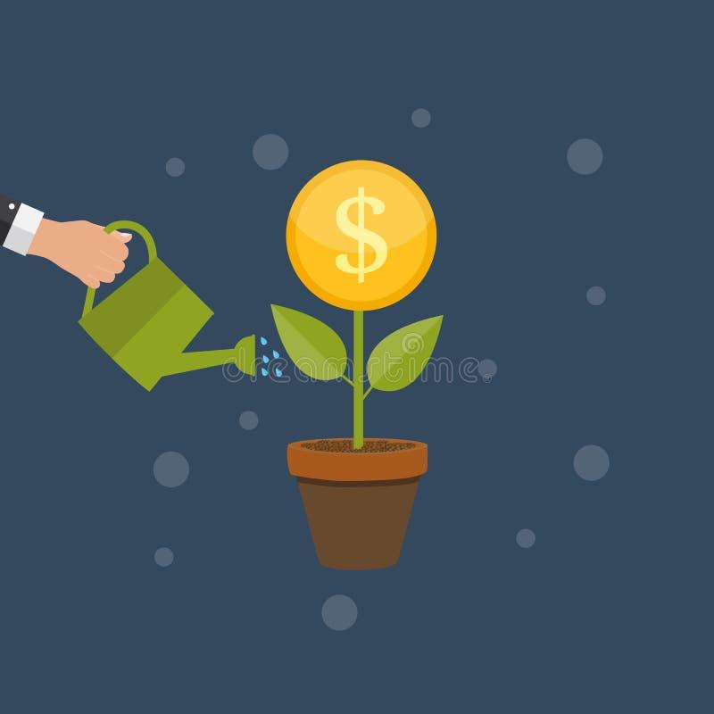 Pengarträd, finansiell illustration för vektor för tillväxtlägenhetbegrepp vektor illustrationer