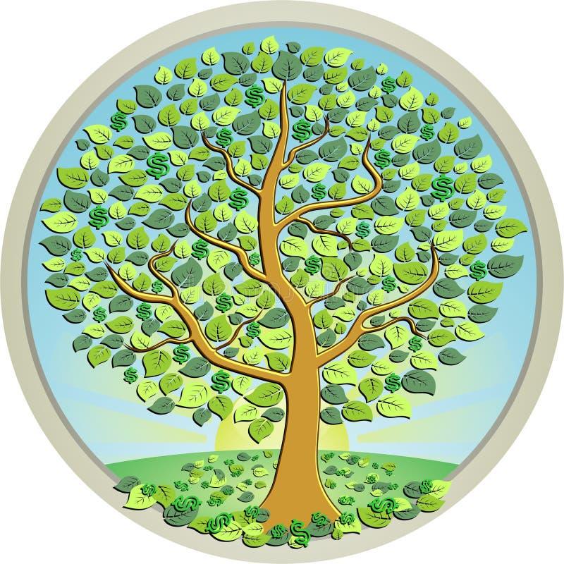 Pengarträd i den gröna ängen royaltyfri illustrationer