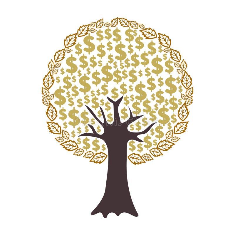 Pengarträd med dollartecken som sidor som isoleras på vit bakgrund stock illustrationer