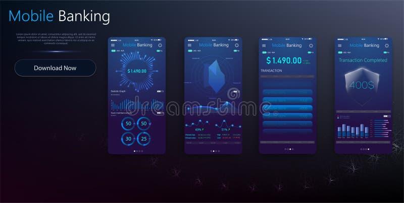 Pengartransaktion, affär, mobila bankrörelsen och mobilbetalning också vektor för coreldrawillustration Jämviktsdetaljen UI avskä stock illustrationer