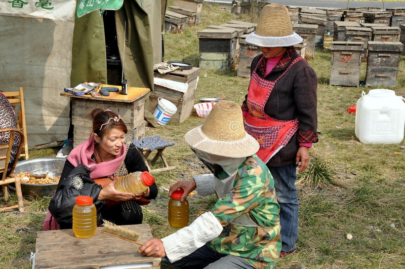 Penghou, China: Beekeepers Selling Honey. Three beekeepers at their apiary in the Pengzhou, China countryside with wooden hive boxes in the background examine royalty free stock photo
