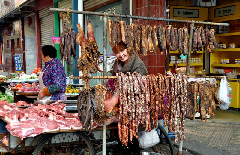 Penghou, China: Butcher Shop with Sausages royalty free stock photos