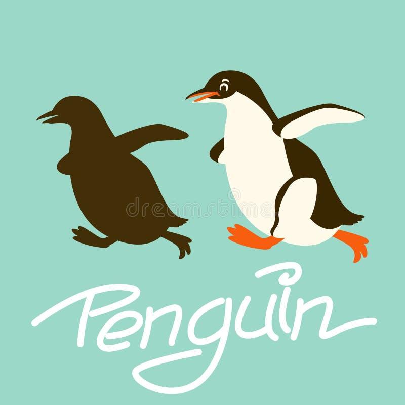 Penguin διανυσματική μαύρη σκιαγραφία ύφους απεικόνισης επίπεδη διανυσματική απεικόνιση