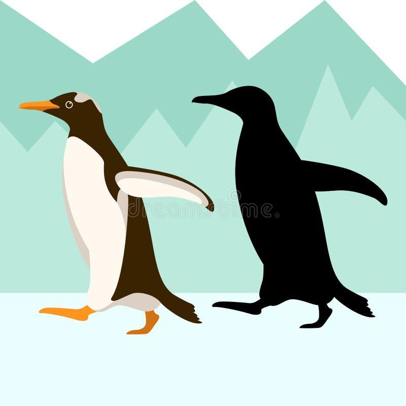 Penguin διανυσματικό απεικόνισης επίπεδο σχεδιάγραμμα σκιαγραφιών ύφους μαύρο διανυσματική απεικόνιση
