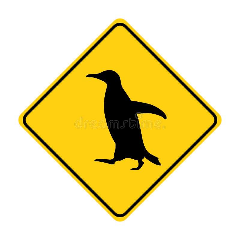 Penguin κίτρινο διάνυσμα σημαδιών κυκλοφορίας σκιαγραφιών ζωικό ελεύθερη απεικόνιση δικαιώματος