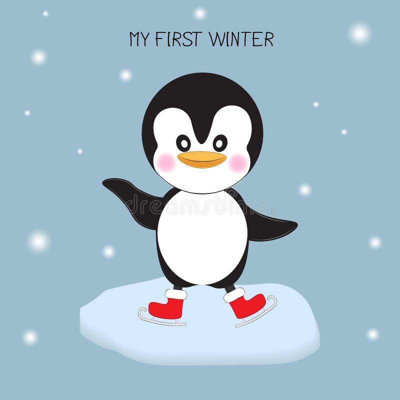 penguin με το σαλάχι πάγου χαιρετισμός καλή χρονιά καρτών του 2007 ελεύθερη απεικόνιση δικαιώματος