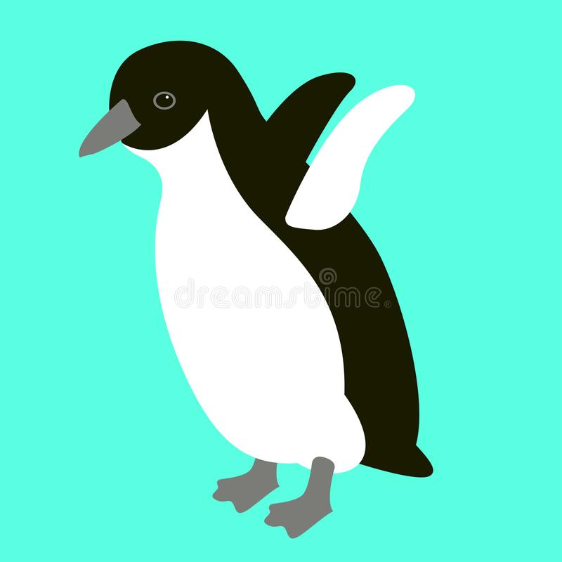 Penguin πουλιών διανυσματικό μέτωπο ύφους απεικόνισης επίπεδο ελεύθερη απεικόνιση δικαιώματος