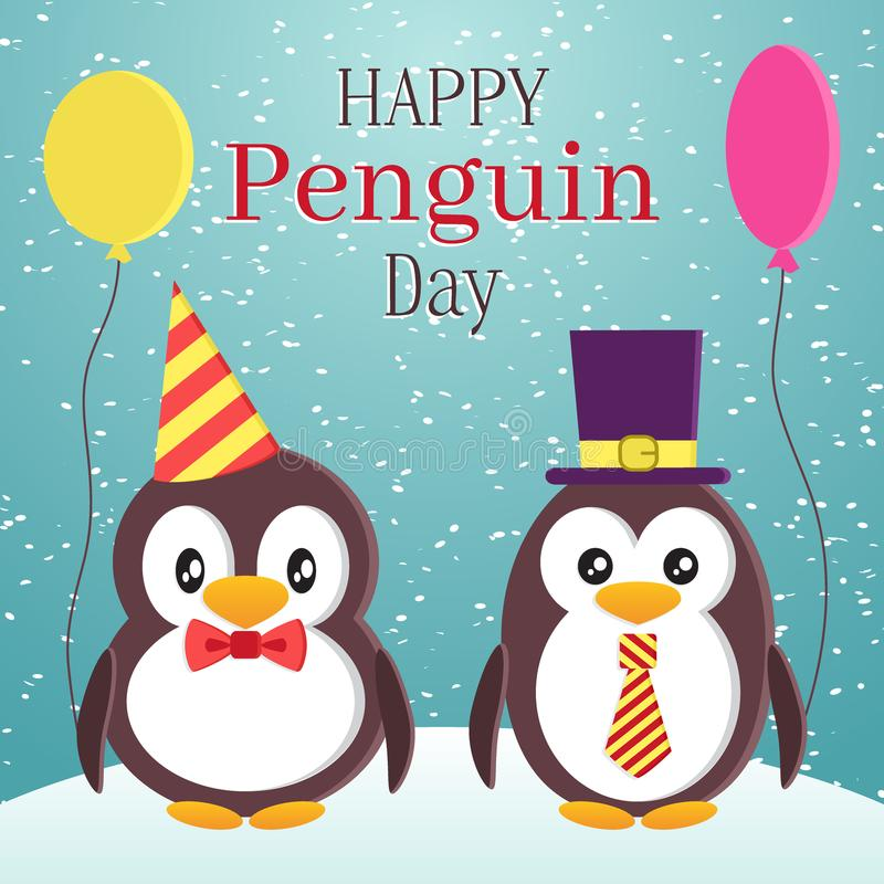 Penguin Awareness Day theme design. Two cute elegant penguins with balloons. Cartoon flat style vector illustration royalty free illustration