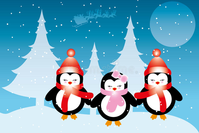 Penguin babies at Christmas. In front of snowy forest and moon , Santa Claus in his sleigh - Christmas card with place for text available as eps and jpg file royalty free illustration